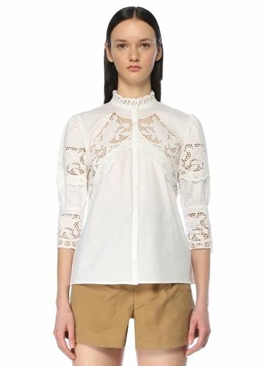 Maje Maje  Dik Yaka Dantel Garnili Gömlek 101627607 Beyaz